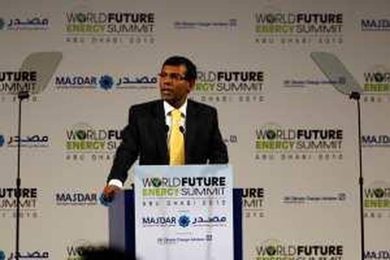ABU DHABI  18th January 2010. WORLD FUTURE ENERGY SUMMIT. DAY 1. Mohamed Nasheed, President of the Maldives speaking at the opening of the World Future Energy Summit in Abu Dhabi yesterday( mon)  Stephen Lock   /  The National  .