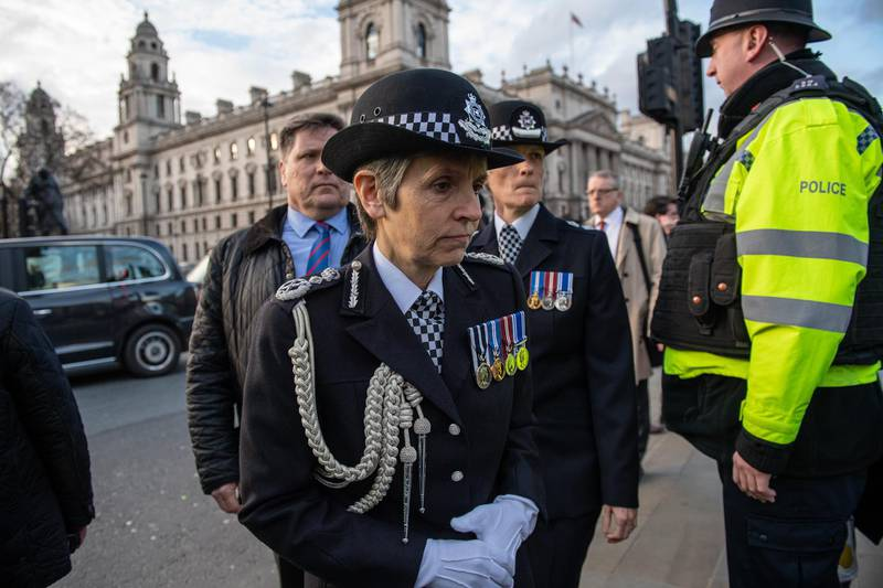 LONDON, ENGLAND - FEBRUARY 20:  Metropolitan police commissioner Cressida Dick arrives for the unveiling of a memorial to PC Keith Palmer outside the Houses of Parliament on February 20, 2019 in London, England. Police officer Keith Palmer was killed during the Westminster terror attack in March, 2017 when a van was driven over Westminster Bridge and ending with the driver stabbing Mr Palmer at the gates of Parliament.  (Photo by Chris J Ratcliffe/Getty Images)