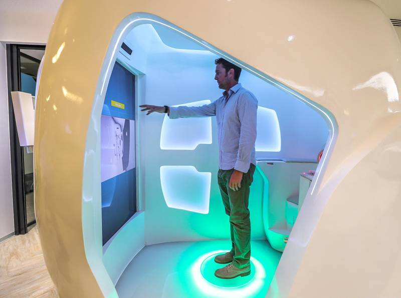 Dubai, UAE, April 1, 2018.  Launch of health pods that can diagnose illness and well being by Dubai Future Foundation.Victor Besa / The NationalNationalREPORTER: Nick Webster