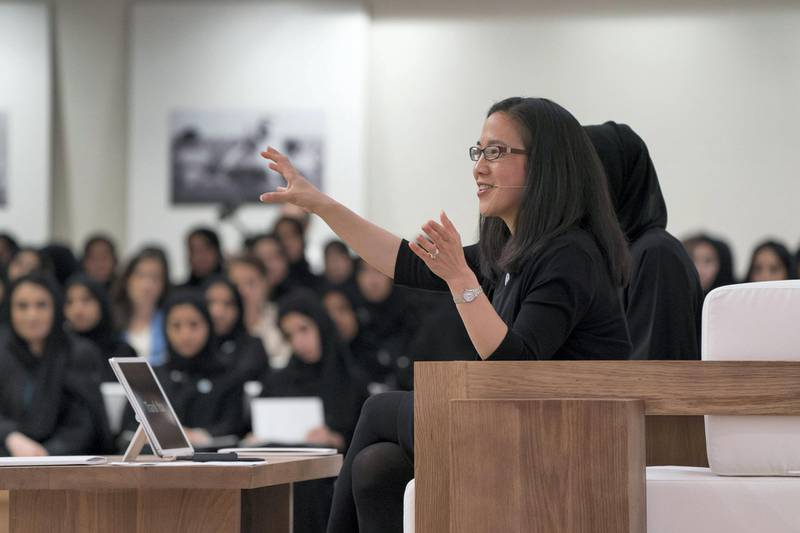 ABU DHABI, UNITED ARAB EMIRATES - May 23, 2018: Angela Duckworth (C) delivers a lecture titled 'True Grit: The Surprising, and Inspiring Science of Success', at Majlis Mohamed bin Zayed. (Mohamed Al Hammadi / Crown Prince Court - Abu Dhabi ) ---