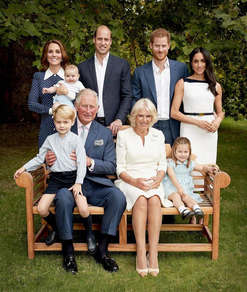 ***BESTPIX*** LONDON, UNITED KINGDOM - SEPTEMBER 5: (NO SALES. Strictly for editorial use only and available until December 12th 2018) In this handout image provided by Clarence House, HRH Prince Charles Prince of Wales poses for an official portrait to mark his 70th Birthday in the gardens of Clarence House, with Their Royal Highnesses Camilla Duchess of Cornwall, Prince Willliam Duke of Cambridge, Catherine Duchess of Cambridge, Prince George, Princess Charlotte, Prince Louis, Prince Harry Duke of Sussex and Meghan Duchess of Sussex, on September 5, 2018 in London, England.  (Photo by Chris Jackson / Clarence House via Getty Images)