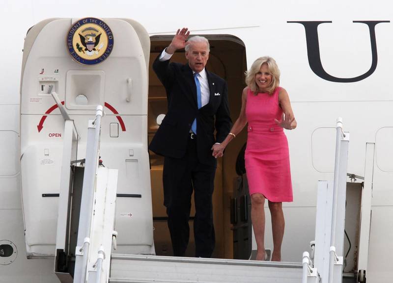 AMMAN, JORDAN - MARCH 11: U.S. Vice President Joe Biden and his wife Jill Biden arrive at Amman Airport on March 11, 2010 in Amman, Jordan. Biden's currently on tour of the middle east which has so far seen him meeting with Palestinian President Mahmoud Abbas, Israeli Prime Minister Benjamin Netanyahu and Israeli President Shimon Peres. (Photo by Salah Malkawi/Getty Images)