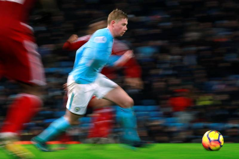 """Soccer Football - Premier League - Manchester City vs Watford - Etihad Stadium, Manchester, Britain - January 2, 2018   Manchester City's Kevin De Bruyne in action    Action Images via Reuters/Jason Cairnduff    EDITORIAL USE ONLY. No use with unauthorized audio, video, data, fixture lists, club/league logos or """"live"""" services. Online in-match use limited to 75 images, no video emulation. No use in betting, games or single club/league/player publications.  Please contact your account representative for further details."""