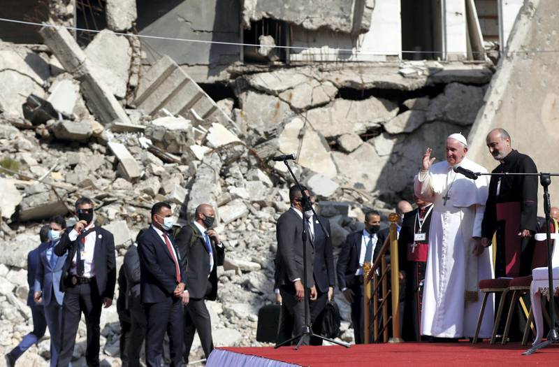 Pope Francis arrives to pray for war victims at 'Hosh al-Bieaa', Church Square, in Mosul's old city, Iraq, March 7, 2021. REUTERS/Yara Nardi