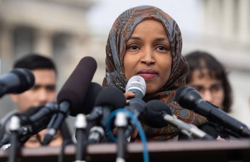US Representative Ilhan Omar, Democrat of Minnesota, speaks during a press conference calling on Congress to cut funding for US Immigration and Customs Enforcement (ICE) and to defund border detention facilities, outside the US Capitol in Washington, DC, February 7, 2019. / AFP / SAUL LOEB