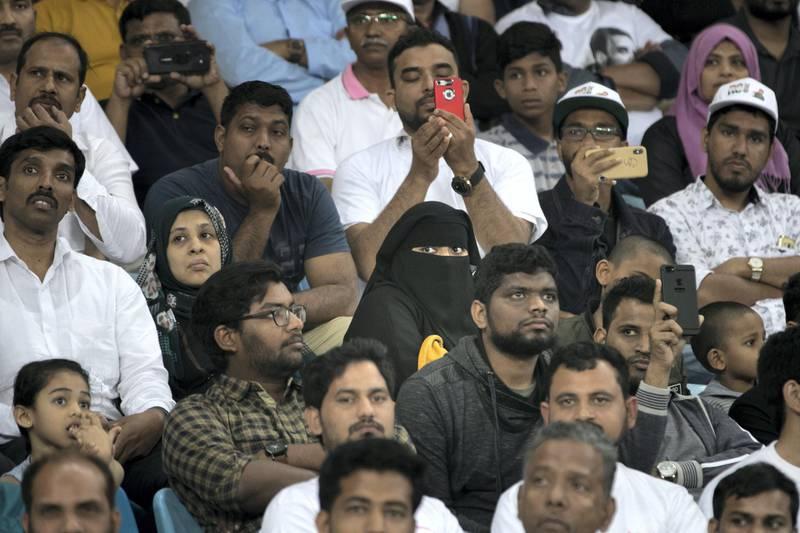 DUBAI, UNITED ARAB EMIRATES - JANUARY 11, 2019. Crowd listen to Rahul Ghandi at Dubai International Cricket Stadium(Photo by Reem Mohammed/The National)Reporter: Ramola TalwarSection:  NA