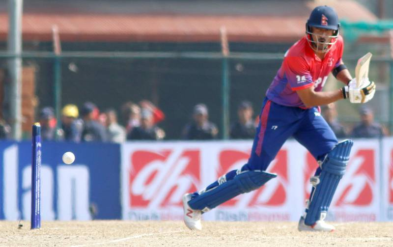 Paras Khadka of Nepal bats during the ICC Cricket World Cup League 2 match between USA and Nepal at TU Cricket Stadium on 8 Feb 2020 in Nepal