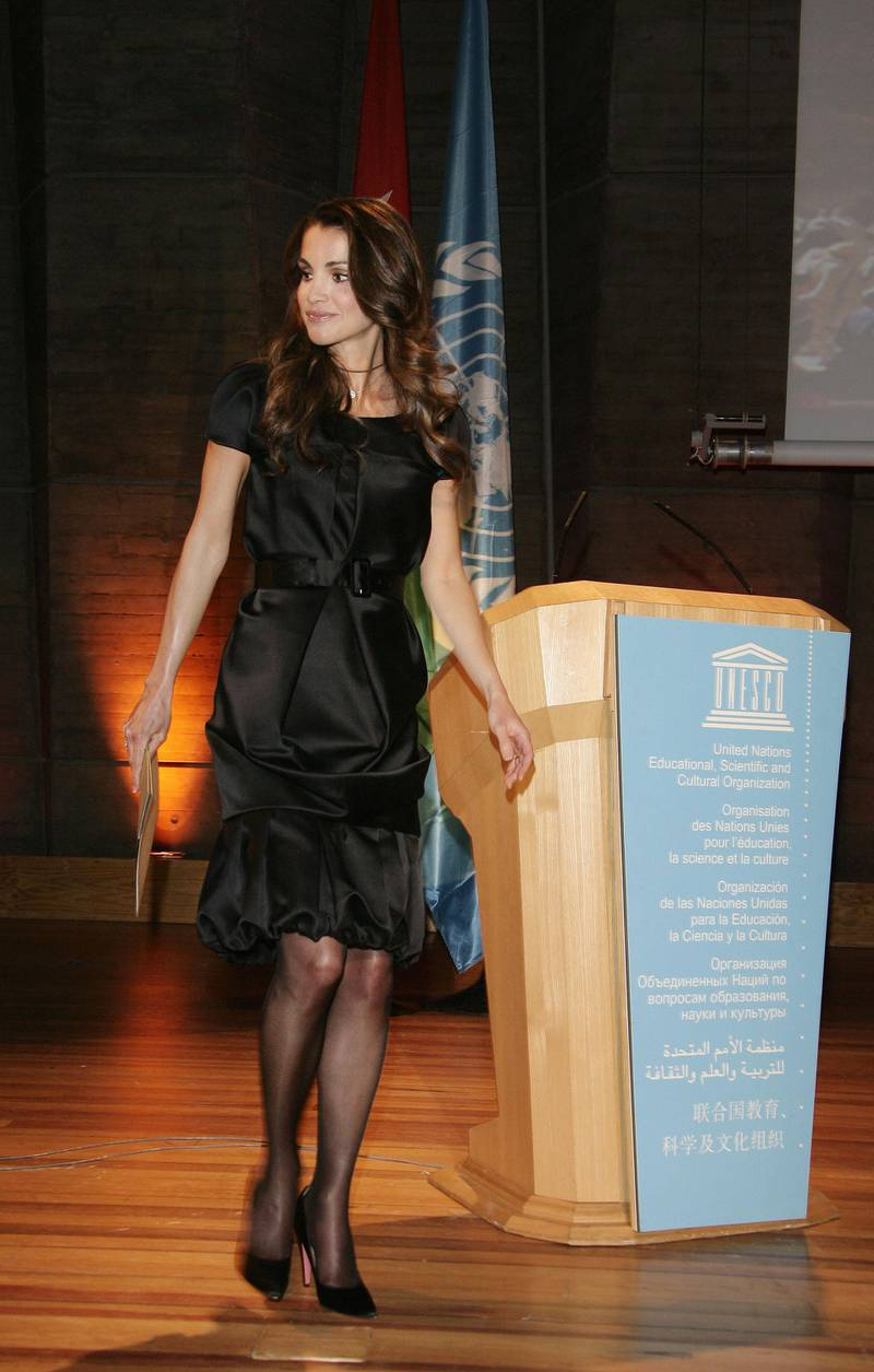 PARIS - APRIL 03:  Queen Rania al-Abdullah of Jordan attends the UNESCO Goodwill Ambassadors Annual Gathering Meeting at the UNESCO headquarters after a traditional Jordanian show of dance and music on April 3, 2007 in Paris, France. (Photo by Francois Durand/Getty Images)