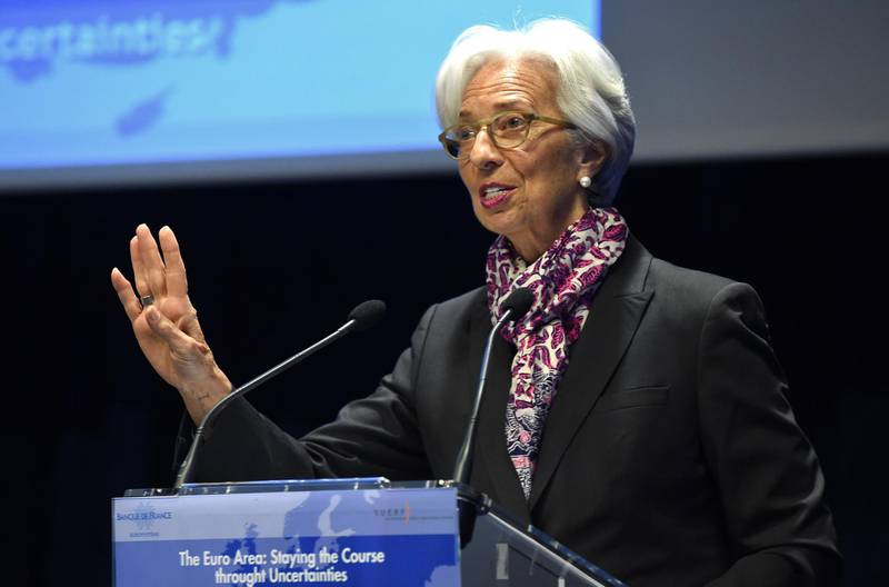 International Monetary Fund (IMF) Managing Director Christine Lagarde speaks during a Symposium on the occasion the 20th anniversary of the euro at the Banque de France, co-organized with the European Money and Finance Forum (SUERF), in Paris on March 28, 2019.  / AFP / ERIC PIERMONT
