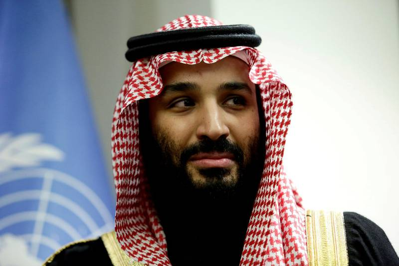 FILE PHOTO: Saudi Arabia's Crown Prince Mohammed bin Salman during a meeting with U.N Secretary-General Antonio Guterres at the United Nations in New York on March 27, 2018. REUTERS/Amir Levy/File Photo