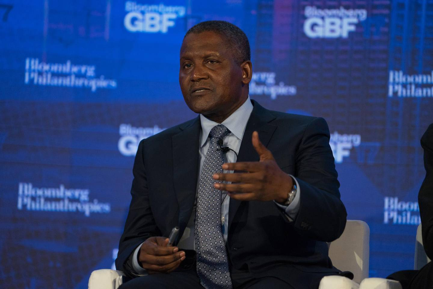 Aliko Dangote, chief executive officer of Dangote Industries Ltd., speaks during the Bloomberg Global Business Forum in New York, U.S., on Wednesday, Sept. 20, 2017. The forum, hosted during UN General Assembly week, brings leaders to work together, through on-the-record mainstage discussions and private bilateral and multilateral meetings, to address the most pressing economic issues facing us today. Photographer: Misha Friedman/Bloomberg