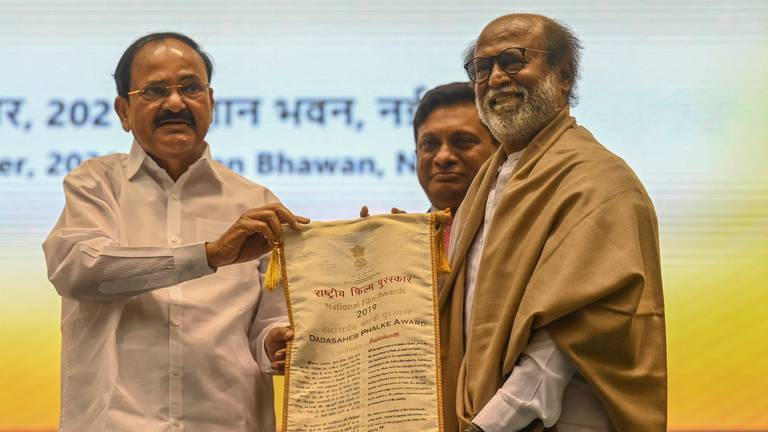 An image that illustrates this article Superstar Rajinikanth and others honoured at India's National Film Awards