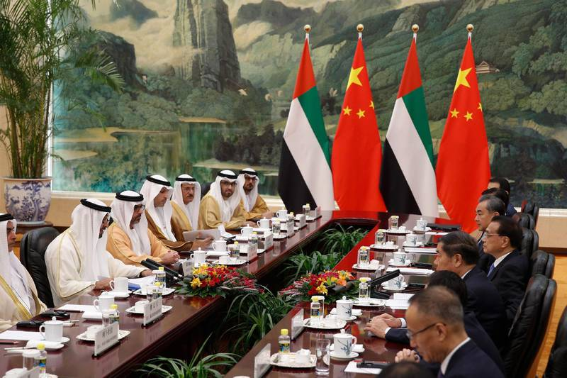 BEIJING, CHINA - JULY 22: Abu Dhabi's crown prince, Sheikh Mohammed bin Zayed Al Nahyan, left, and Chinese Premier Li Keqiang attend a meeting at the Great Hall of the People in Beijing, Monday, July 22, 2019. (Andy Wong-Pool/Getty Images)