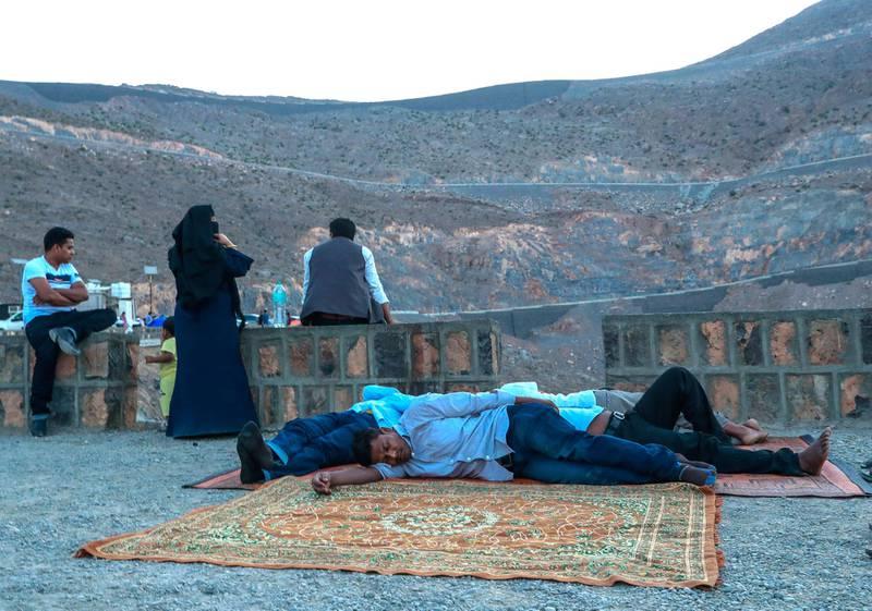 Jebel Jais, United Arab Emirates, August 30, 2019.  Weekend mountain lovers still asleep at the break of dawn at the Jebel Jais mountain picnic area.Victor Besa/The NationalSection:  StandaloneReporter: