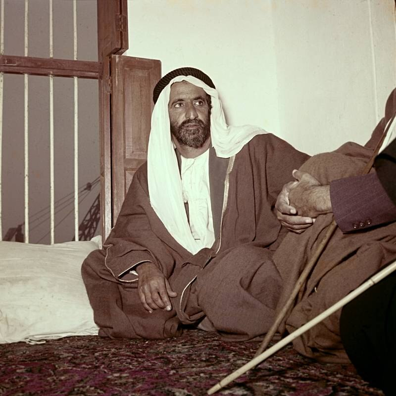 Provided photo  Part of the ' A Glimpse of the Past' at Dubai Photo Exhibition  the private photography collection of His Highness Sheikh Hamdan bin Mohammed bin Rashid Al Maktoum the Crown Prince of Dubai  The late Sheikh Rashid bin Saeed Al Maktoum, speaking to a journalist about his grand aspirations and projects which would go on to become a reality. Even though he was 50 years old at time in the 1960's, he was full of energy and vigor for the sake of raising the profile of Dubai. Photographed by Oscar Mitri    *** Local Caption ***  na09mr-photo_exhibit_1.jpg