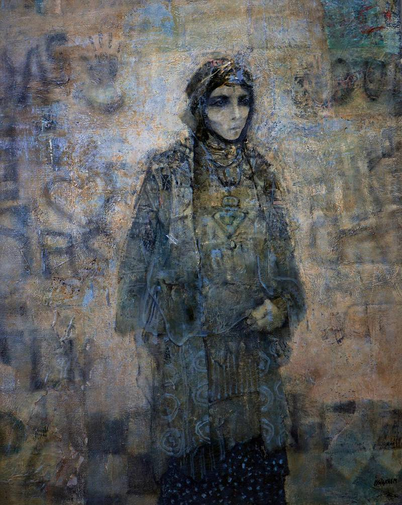 A handout image of Femme et Mur (n.d.) (Woman and Wall) oil on canvas 162 x 130 cm by Mohammed Issiakhem (Algeria 1928 – 1985) for Sky over The East exhibition by Sharjah's Barjeel Foundation at Emirates Palace (Courtesy: Barjeel Art Foundation) NOTE: For Anna Seaman's feature in Arts & Life