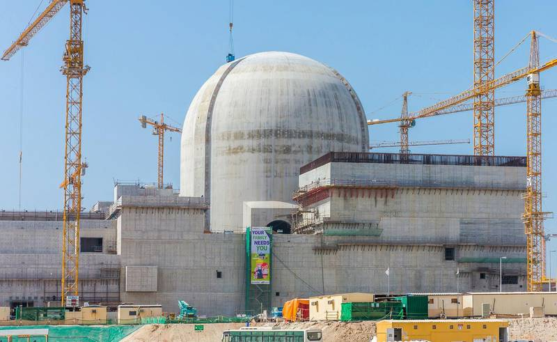 """A handout photo released by the ENEC on June 1, 2017 shows part of the Barakah Nuclear power plant under construction near al-Hamra west of Abu Dhabi in May 2017. RESTRICTED TO EDITORIAL USE - MANDATORY CREDIT """"AFP PHOTO / ENEC / ARUN GIRIJA"""" - NO MARKETING NO ADVERTISING CAMPAIGNS - DISTRIBUTED AS A SERVICE TO CLIENTS    / AFP / Arun GIRIJA / RESTRICTED TO EDITORIAL USE - MANDATORY CREDIT """"AFP PHOTO / ENEC / ARUN GIRIJA"""" - NO MARKETING NO ADVERTISING CAMPAIGNS - DISTRIBUTED AS A SERVICE TO CLIENTS    *** Local Caption ***  269738-01-08.jpg 269738-01-08.jpg"""