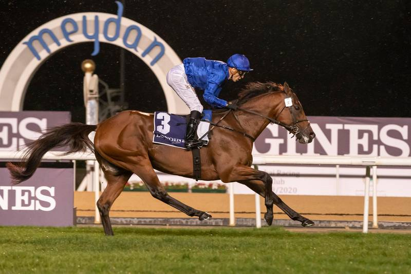 DUBAI, UNITED ARAB EMIRATES. 09 JANUARY 2020. Horse Racing. 8th Race Meeting at Meydan Racecourse. Race 4: Thoroughbreds, Singspiel Stakes, winner Nr 3, Benbatl (GB) 6 years old ridden by Christophe Soumillon and trained by Saeed Bin Suroor. (Photo: Antonie Robertson/The National) Journalist: Amith Passela. Section: Sport.