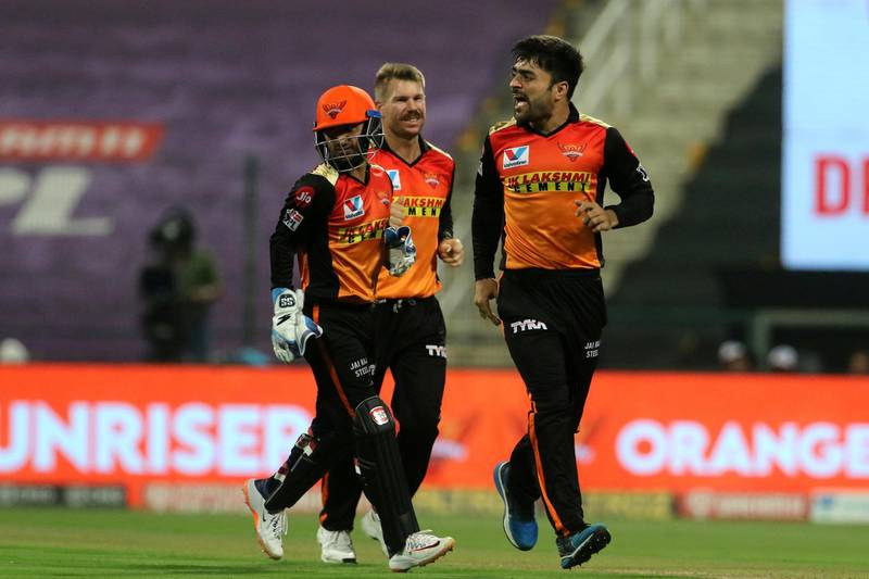 Rashid Khan of Sunrisers Hyderabad celebrates the wicket of Marcus Stoinis of Delhi Capitals during the qualifier 2 match of season 13 of the Dream 11 Indian Premier League (IPL) between the Delhi Capitals and the Sunrisers Hyderabad at the Sheikh Zayed Stadium, Abu Dhabi in the United Arab Emirates on the 8th November 2020.  Photo by: Vipin Pawar  / Sportzpics for BCCI