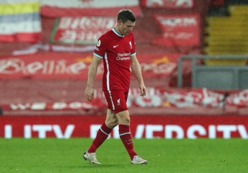 LIVERPOOL, ENGLAND - FEBRUARY 03: James Milner of Liverpool looks dejected following the Premier League match between Liverpool and Brighton & Hove Albion at Anfield on February 03, 2021 in Liverpool, England. Sporting stadiums around the UK remain under strict restrictions due to the Coronavirus Pandemic as Government social distancing laws prohibit fans inside venues resulting in games being played behind closed doors. (Photo by Clive Brunskill/Getty Images)