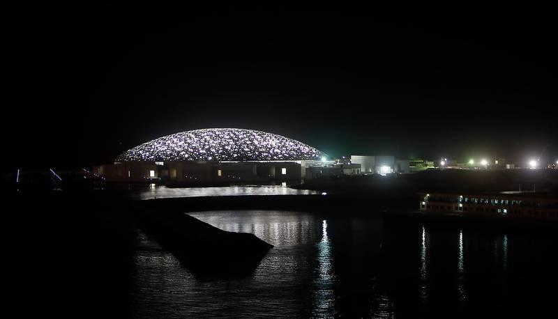 ABU DHABI, UNITED ARAB EMIRATES - 30JAN2017 - Louvre Abu Dhabi on Saadiyat Island at night in Abu Dhabi. Ravindranath K / The National ID: 97673 (to go with Nicholas Leech story for News)  *** Local Caption ***  RK3001-louvre08.jpg