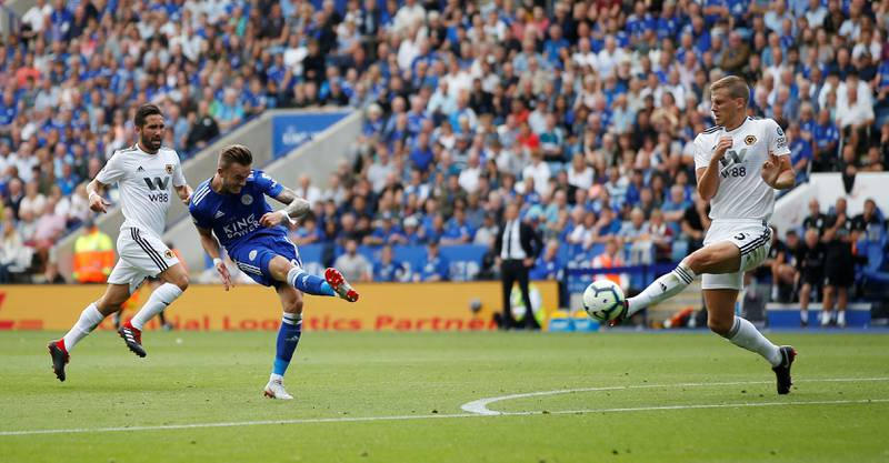 """Soccer Football - Premier League - Leicester City v Wolverhampton Wanderers - King Power Stadium, Leicester, Britain - August 18, 2018  Leicester City's James Maddison scores their second goal    Action Images via Reuters/Craig Brough  EDITORIAL USE ONLY. No use with unauthorized audio, video, data, fixture lists, club/league logos or """"live"""" services. Online in-match use limited to 75 images, no video emulation. No use in betting, games or single club/league/player publications.  Please contact your account representative for further details."""