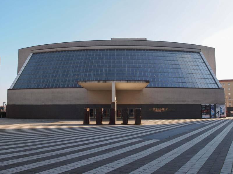 JB9M9R MILAN, ITALY - FEBRUARY 23, 2014: Teatro degli Arcimboldi theatre was designed by Vittorio Gregotti with Mario Botta and Elisabetta Fabbri in 2001 for the temporary closure of La Scala opera house. Alamy