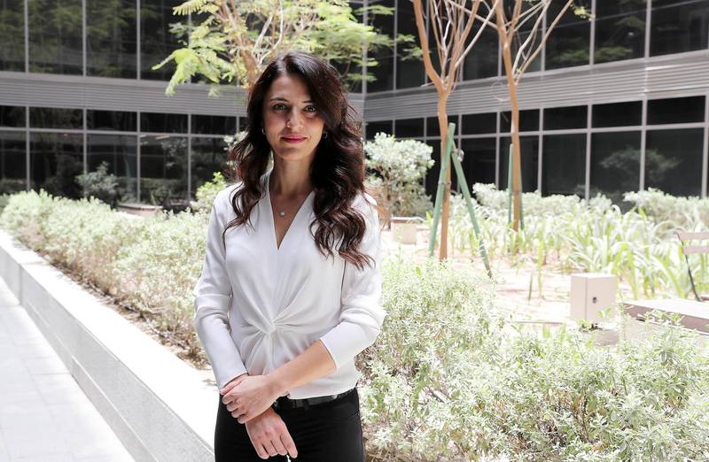 DUBAI , UNITED ARAB EMIRATES , MAY 15 – 2018 :- Magdalena Gatzinska , former investment banker with JP Morgan and Deutsche Bank at the APCO office in Dubai Internet City in Dubai.  ( Pawan Singh / The National )  For Business. Story by Gillian