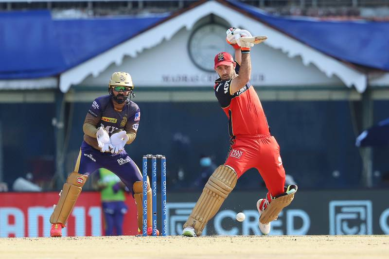 Glenn Maxwell of Royal Challengers Bangalore plays a shot during match 10 of the Vivo Indian Premier League 2021 between the Royal Challengers Bangalore and the Kolkata Knight Riders held at the M. A. Chidambaram Stadium, Chennai on the 18th April 2021.  Photo by Faheem Hussain / Sportzpics for IPL