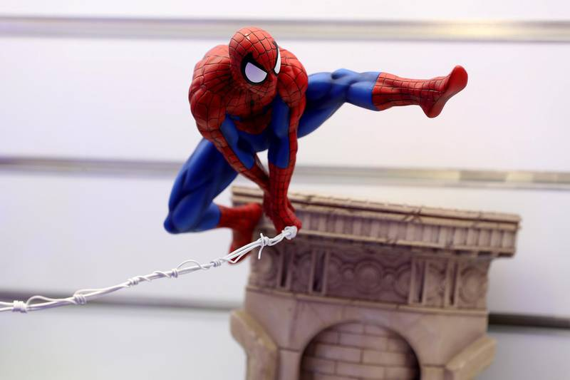 Dubai, United Arab Emirates - May 26, 2019: Photo Project. Spiderman figurine. Comicave is the WorldÕs largest pop culture superstore involved in the retail and distribution of high-end collectibles, pop-culture merchandise, apparels, novelty items, and likes. Thursday the 30th of May 2019. Dubai Outlet Mall, Dubai. Chris Whiteoak / The National