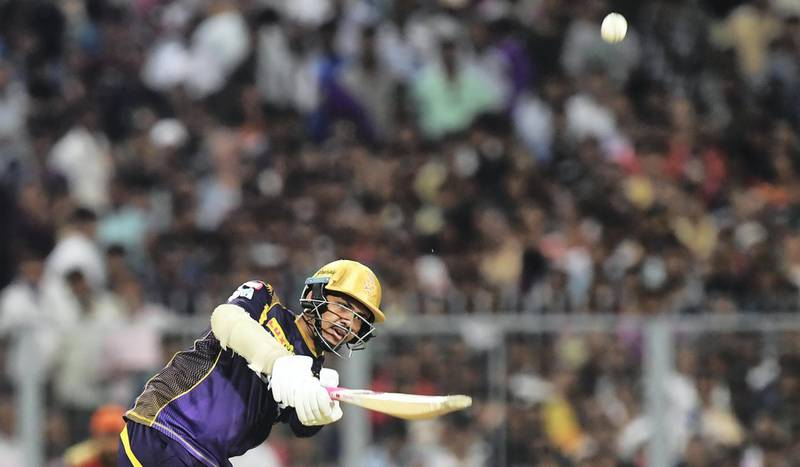 Kolkata Knight Riders cricketer Sunil Narine plays a shot during the 2018 Indian Premier League(IPL) Twenty20 second Qualifier cricket match between Kolkata Knight Riders and Sunrisers Hyderabad at The Eden Gardens Cricket Stadium in Kolkata on May 25, 2018.  / AFP PHOTO / Dibyangshu SARKAR / ----IMAGE RESTRICTED TO EDITORIAL USE - STRICTLY NO COMMERCIAL USE----- / GETTYOUT