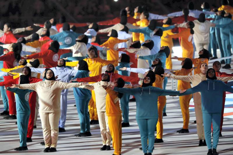 ABU DHABI, UNITED ARAB EMIRATES. 14 MARCH 2019. Opening Ceremony of the Special Olympics at Zayed Sports City. (Photo: Antonie Robertson/The National) Journalist: None: National.
