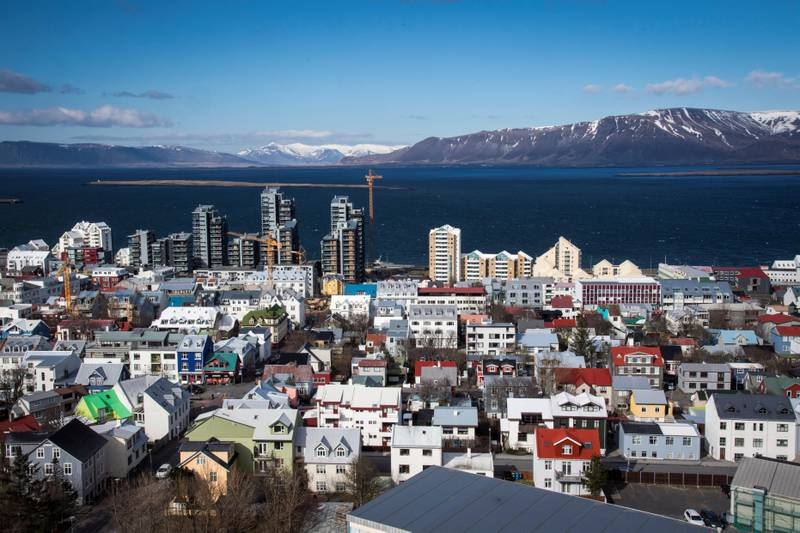 REYKJAVÍK, ICELAND - APRIL 27: The view of buildings in downtown Reykjavík are seen from the top of Hallgrímskirkja, a Lutheran church which is also the national church of Iceland, on Wednesday April 27, 2016. The costal capital city is where over 60 percent of the countries population live in or near by.(Photo by Jabin Botsford/The Washington Post via Getty Images)