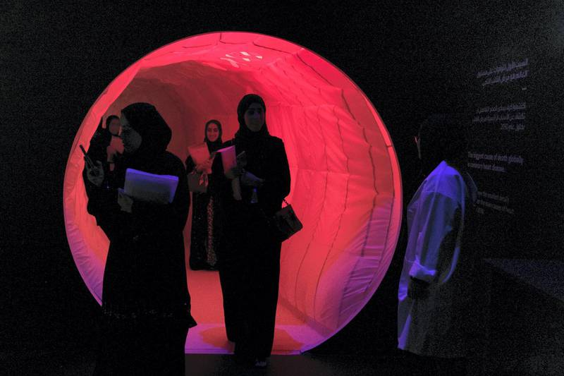 ABU DHABI, UNITED ARAB EMIRATES - OCTOBER 08, 2018. Interactive Science and Technology installation at Mohammed Bin Zayed Council for Future Generations sessions, held at ADNEC.(Photo by Reem Mohammed/The National)Reporter: SHIREENA AL NUWAIS + ANAM RIZVISection:  NA