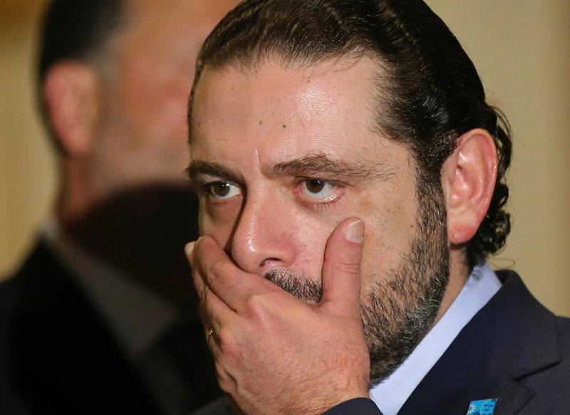 FILE - This Thursday, Oct. 20, 2016 file photo, Former Lebanese Prime Minister Saad Hariri reacts after he announced his support to the Christian leader Michel Aoun to be Lebanese president, in Beirut, Lebanon. Hariri resigned from his post Saturday, Nov 4, 2017 during a trip to Saudi Arabia in a surprise move that plunged the country into uncertainty amid heightened regional tensions. (Hussein Malla, File)
