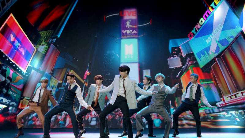 FILE PHOTO: Band BTS performs during the 2020 MTV VMAs in this screen grab image made available on August 30, 2020. VIACOM/Handout via REUTERS ATTENTION EDITORS - THIS IMAGE HAS BEEN SUPPLIED BY A THIRD PARTY. EDITORIAL USE ONLY. NO RESALES. NO ARCHIVES./File Photo