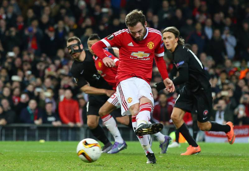 MANCHESTER, ENGLAND - FEBRUARY 25:  Juan Mata of Manchester United kicks the penalty saved by Mikkel Andersen of Midtjylland during the UEFA Europa League Round of 32 second leg match between Manchester United and FC Midtjylland at Old Trafford on February 25, 2016 in Manchester, United Kingdom.  (Photo by Alex Livesey/Getty Images)