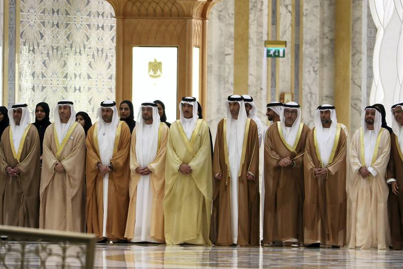 ABU DHABI , UNITED ARAB EMIRATES , October 15  – 2019 :- Members of the UAE delegates during the visit of Vladimir Putin, President of Russia at the Presidential Palace in Abu Dhabi.  ( Pawan Singh / The National )  For News. Story by John