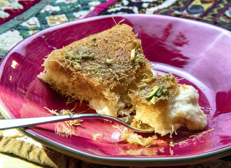 Abu Dhabi, United Arab Emirates, April 10, 2021.  Ramadan Recipes.  Kunafe.Victor Besa/The NationalSection:  ACReporter:  Hanan Sayed Worrell
