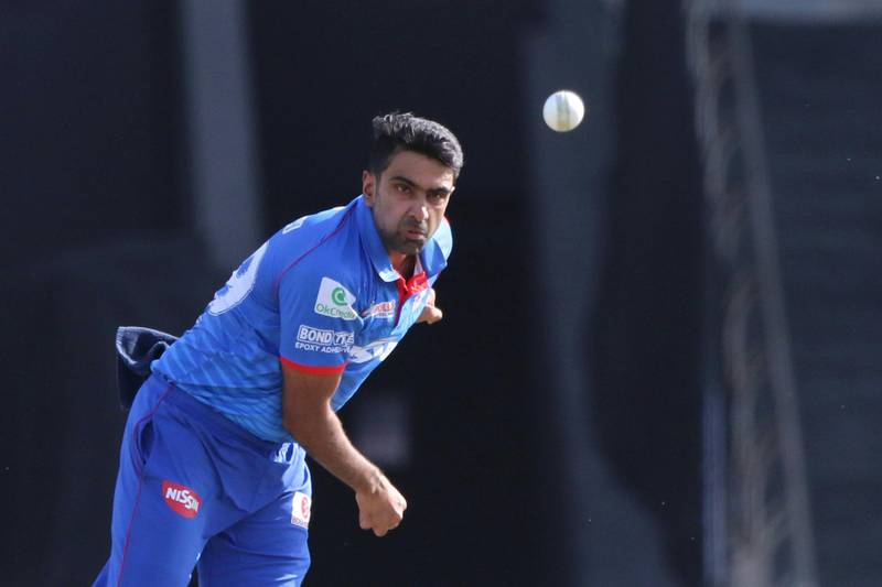Ravichandran Ashwin of Delhi Capitals bowls during match 42 of season 13 of the Dream 11 Indian Premier League (IPL) between the Kolkata Knight Riders and the Delhi Capitals at the Sheikh Zayed Stadium, Abu Dhabi  in the United Arab Emirates on the 24th October 2020.  Photo by: Pankaj Nangia  / Sportzpics for BCCI