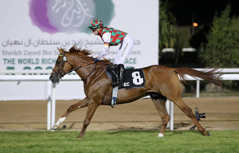 ABU DHABI , UNITED ARAB EMIRATES , November 9  ��� 2018 :- Harrab (FR) ridden by Esther Weissmeier ( no 8  ) won the 4th race 1600m at the Abu Dhabi Equestrian Club in Abu Dhabi. ( Pawan Singh / The National ) For Sports. Story by Amith