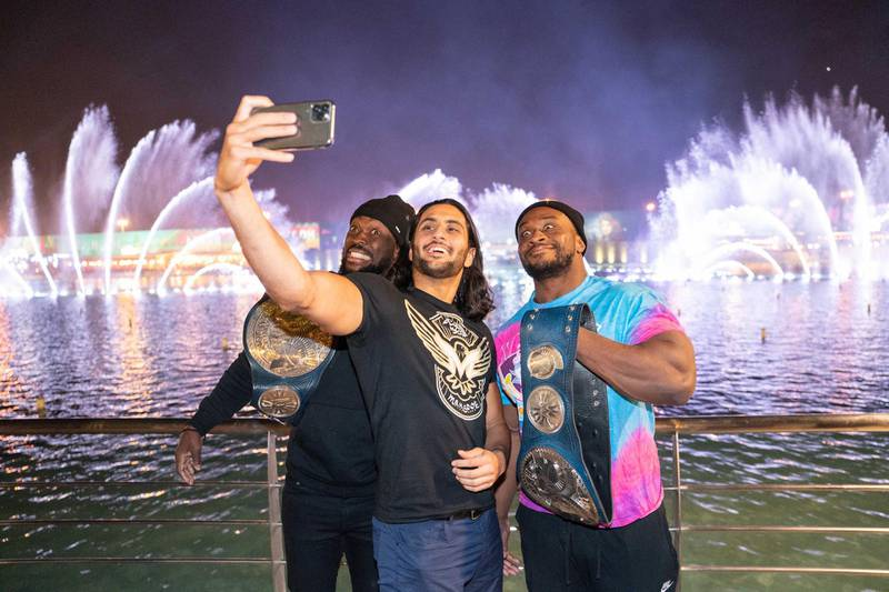 Stars of WWE headed to The Boulevard in Riyadh where they posed for iconic images as they prepare to perform at Super ShowDown in KSA tonight. Courtesy WWE