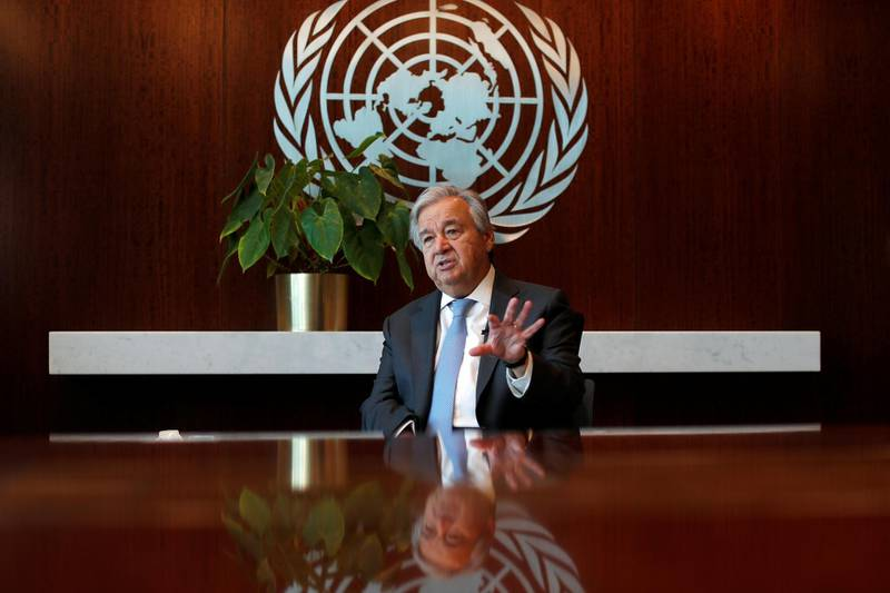 United Nations Secretary-General Antonio Guterres speaks during an interview with Reuters at U.N. headquarters in New York City, New York, U.S., September 14, 2020. Picture taken September 14, 2020. REUTERS/Mike Segar
