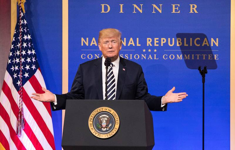 epa06616599 US President Donald J. Trump delivers remarks at the National Republican Congressional Committee March Dinner at the National Building Museum in Washington, DC, USA, 20 March 2018.  EPA/KEVIN DIETSCH / POOL