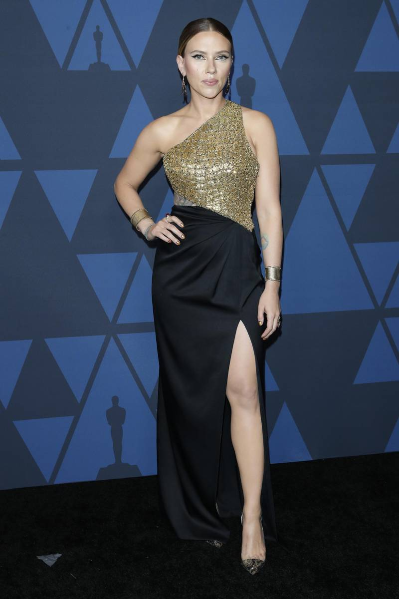 epa07955361 US actress Scarlett Johansson poses on the red carpet prior the 11th Annual Governors Awards at the Dolby Theater in Hollywood, California, USA, 27 October 2019.  EPA-EFE/NINA PROMMER