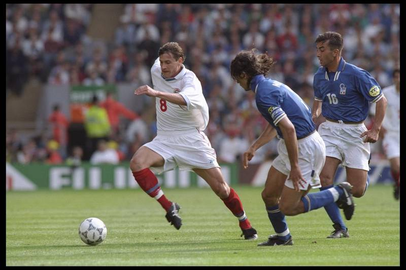 11 Jun 1996:  Andrei Kanchelskis of Russia (number 8) is chased by Paolo Maldini of Italy (number 3) during the European soccer championship match between Italy and Russia at Anfield, Liverpool. The match was won by Italy 2-1.Mandatory Credit: Shaun Botterill/Allsport  UK