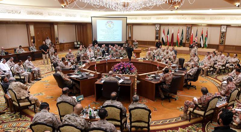 epa07014692 Gulf cooperation council's (GCC) armed force chiefs of staff and the commander of the US Central Command meeting, in Kuwait City, Kuwait, 12 September 2018.  EPA/NOUFAL IBRAHIM