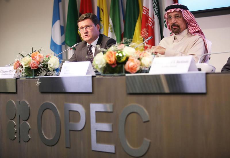 Alexander Novak, Russia's energy minister, left, speaks as Khalid Al-Falih, Saudi Arabia's energy and industry minister, listens during a news conference following the 173rd Organization of Petroleum Exporting Countries (OPEC) meeting in Vienna, Austria, on Thursday, Nov. 30, 2017. OPEC agreed to extend its oil-production cuts to the end of 2018 and included Libya and Nigeria in the deal for the first time, according to delegates gathered in Vienna. Photographer: Akos Stiller/Bloomberg