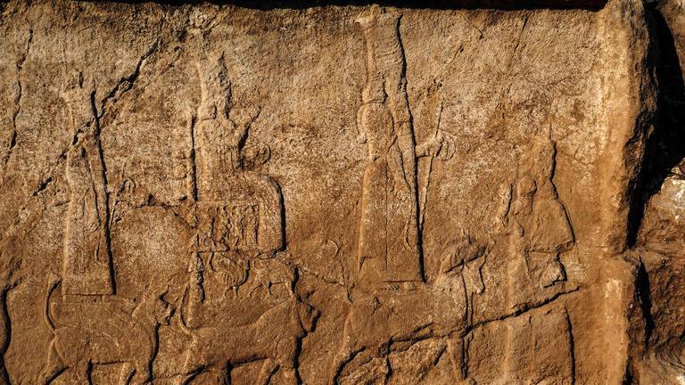 An image that illustrates this article Archaeologists in Iraq discover ancient wine press and giant carvings