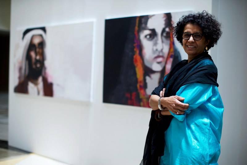 Dubai, United Arab Emirates, July 29, 2013:     Emirati artist Fatima Lootah at the The Cultural and Scientific Association in the Al Mamzar area of Dubai on July 29, 2013. Christopher Pike / The National  Reporter: Anna Seaman *** Local Caption ***  CP0729-Fatma Lootah007.JPG